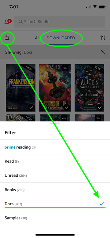 Image showing Downloaded library and Docs filter
