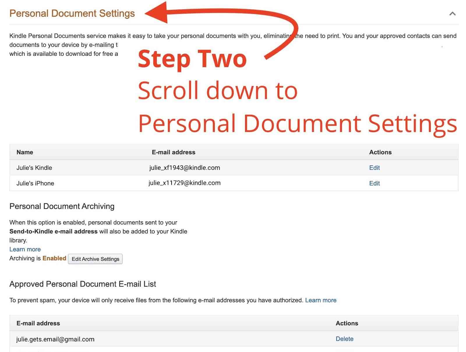 Screenshot Amazon Personal Document Settings