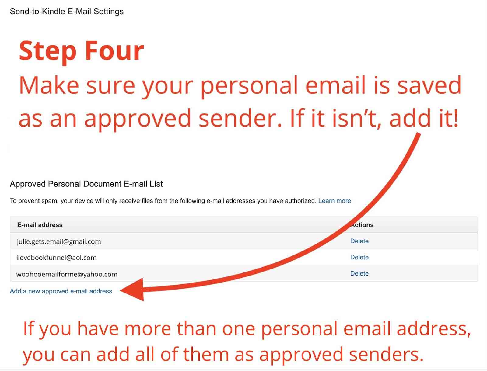 Screenshot of Amazon Personal Document Email List settings